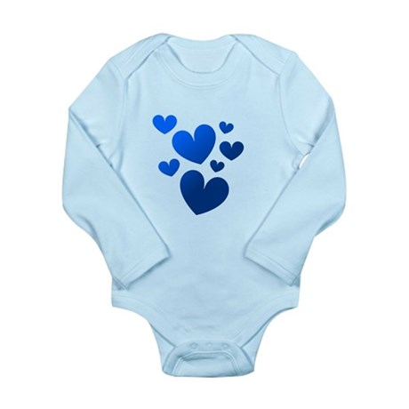 Blue Valentine Hearts Long Sleeve Infant Bodysuit
