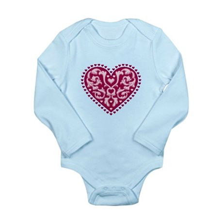 Fancy Heart Long Sleeve Infant Bodysuit