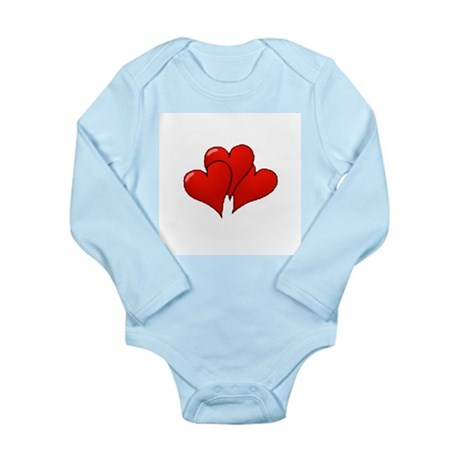 Three Hearts Long Sleeve Infant Bodysuit