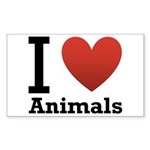 I Love Animals Sticker (Rectangle)