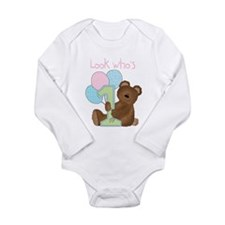 Look Who's One (pink) Long Sleeve Infant Bodysuit