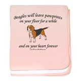 Beagle Pawprints baby blanket