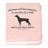 Doberman Pawprints baby blanket