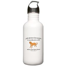 Golden Retriever Pawprints Water Bottle
