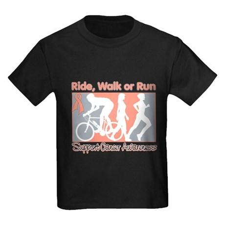 Uterine Cancer RideWalkRun Kids Dark T-Shirt