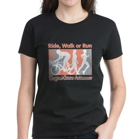 Uterine Cancer RideWalkRun Women's Dark T-Shirt