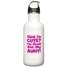 Think I'm Cute? Aunt Pink Water Bottle
