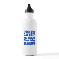 Think I'm Cute? Grandma Blue Water Bottle