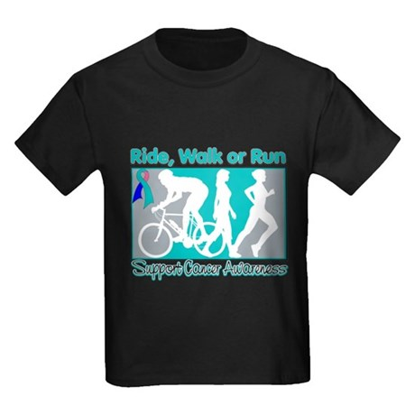 Thyroid Cancer RideWalkRun Kids Dark T-Shirt