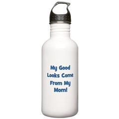 Good Looks From Mom - Blue Water Bottle