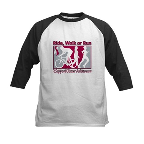 Throat Cancer RideWalkRun Kids Baseball Jersey