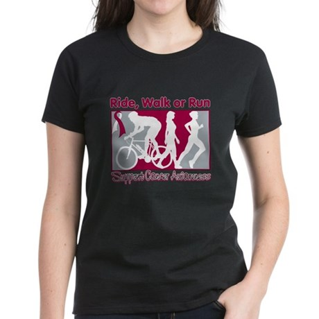 Throat Cancer RideWalkRun Women's Dark T-Shirt