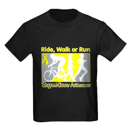 TesticularCancer RideWalkRun Kids Dark T-Shirt