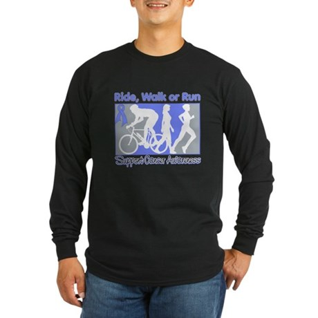 Stomach Cancer RideWalkRun Long Sleeve Dark T-Shir