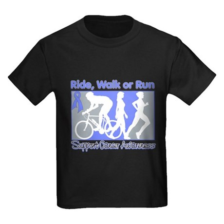 Stomach Cancer RideWalkRun Kids Dark T-Shirt