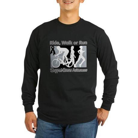 Skin Cancer RideWalkRun Long Sleeve Dark T-Shirt