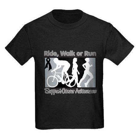 Skin Cancer RideWalkRun Kids Dark T-Shirt