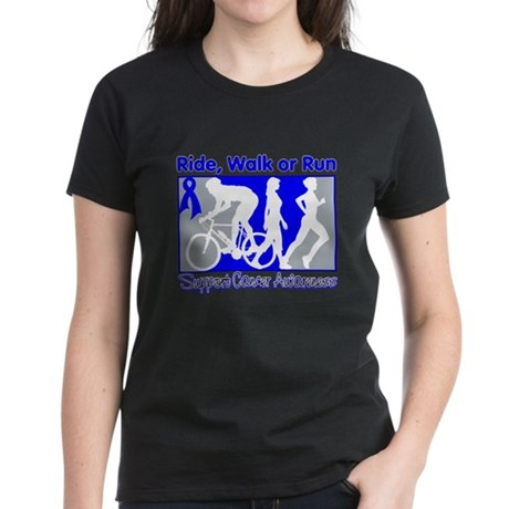 Rectal Cancer RideWalkRun Women's Dark T-Shirt