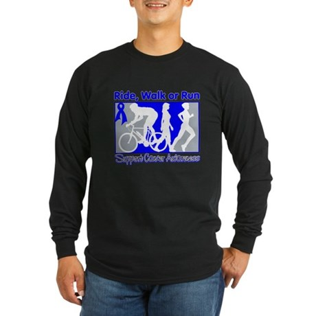 Rectal Cancer RideWalkRun Long Sleeve Dark T-Shirt