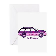 Lipstick Lesbaru Car and Logo Greeting Card