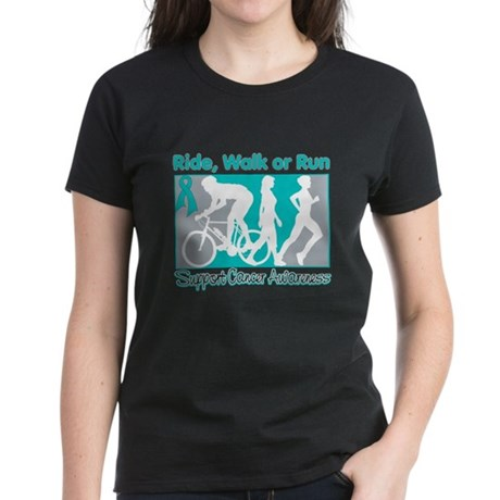 Ovarian Cancer RideWalkRun Women's Dark T-Shirt