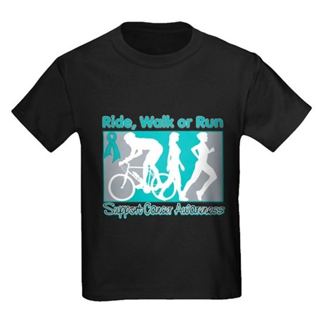 Ovarian Cancer RideWalkRun Kids Dark T-Shirt