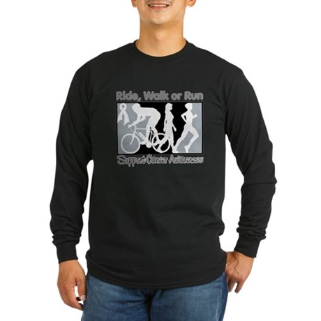 Lung Cancer RideWalkRun Long Sleeve Dark T-Shirt