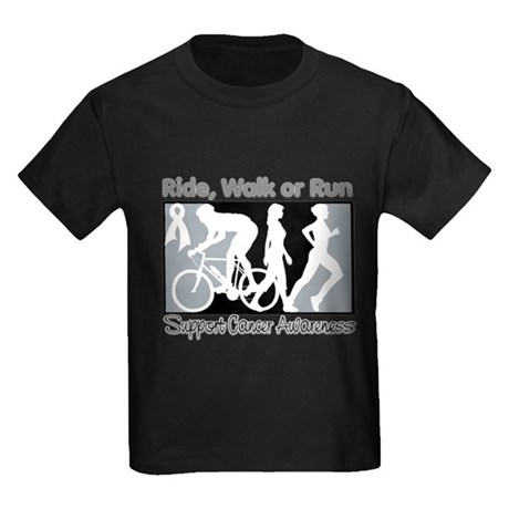Lung Cancer RideWalkRun Kids Dark T-Shirt