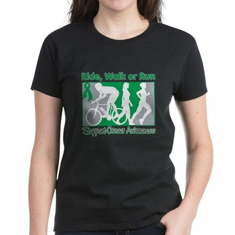 Liver Cancer RideWalkRun Women's Dark T-Shirt