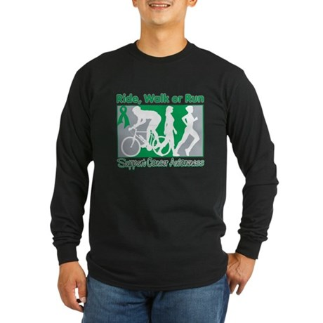 Liver Cancer RideWalkRun Long Sleeve Dark T-Shirt