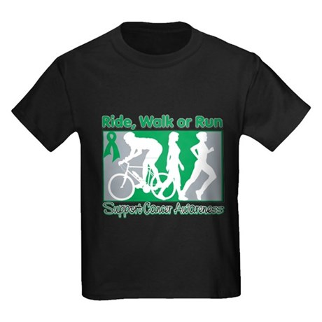 Liver Cancer RideWalkRun Kids Dark T-Shirt