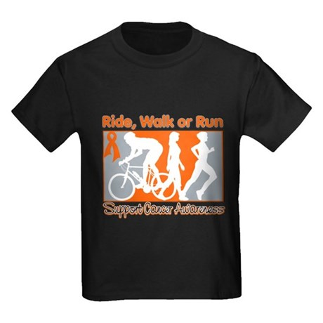 Leukemia RideWalkRun Kids Dark T-Shirt