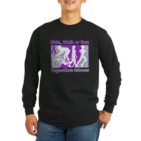 Pancreatic Cancer RideWalkRun Long Sleeve Dark T-S