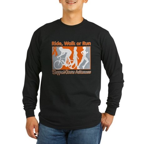 Kidney Cancer RideWalkRun Long Sleeve Dark T-Shirt