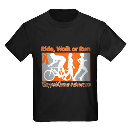 Kidney Cancer RideWalkRun Kids Dark T-Shirt