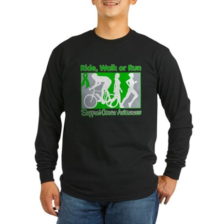 Kidney Cancer v2 RideWalkRun Long Sleeve Dark T-Sh
