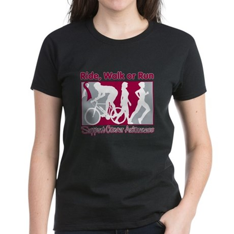 Cancer Ride Walk Run Women's Dark T-Shirt