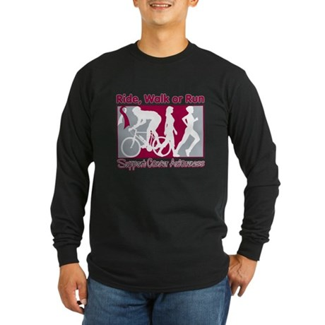 Cancer Ride Walk Run Long Sleeve Dark T-Shirt