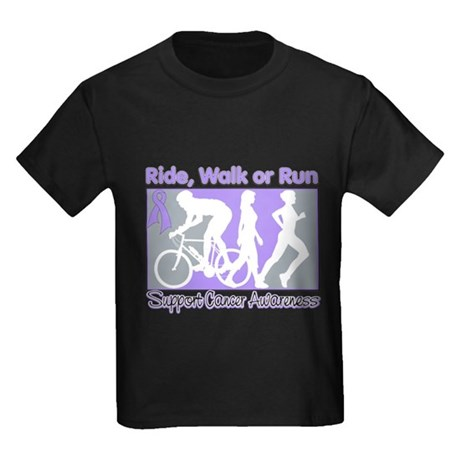 General Cancer RideWalkRun Kids Dark T-Shirt