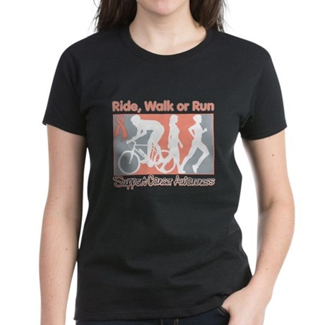 Endometrial Cancer RideWalkRun Women's Dark T-Shir