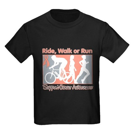 Endometrial Cancer RideWalkRun Kids Dark T-Shirt