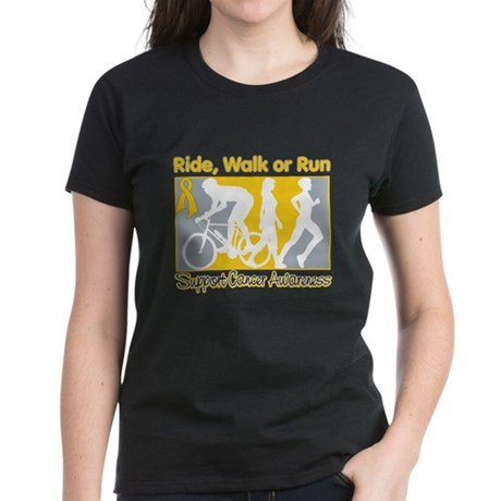 Childhood Cancer RideWalkRun Women's Dark T-Shirt