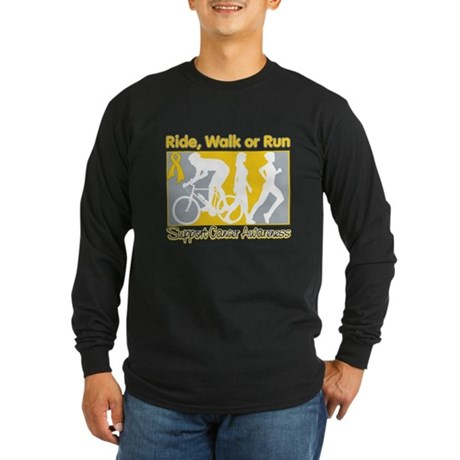 Childhood Cancer RideWalkRun Long Sleeve Dark T-Sh