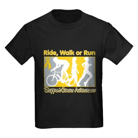 Childhood Cancer RideWalkRun Kids Dark T-Shirt