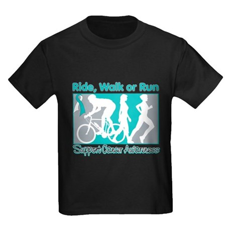 Cervical Cancer RideWalkRun Kids Dark T-Shirt