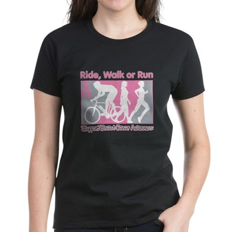 Breast Cancer RideWalkRun Women's Dark T-Shirt