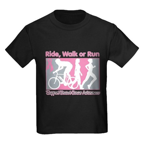 Breast Cancer RideWalkRun Kids Dark T-Shirt