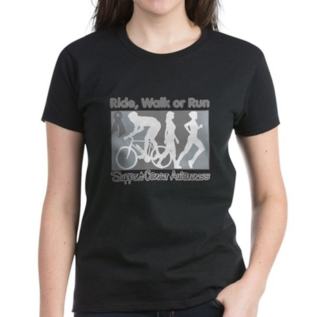 Brain Cancer RideWalkRun Women's Dark T-Shirt