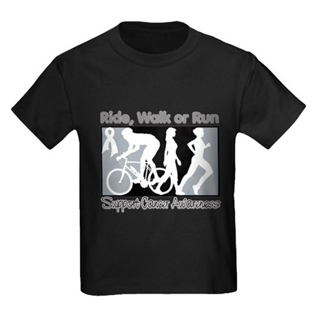 Bone Cancer RideWalkRun Kids Dark T-Shirt