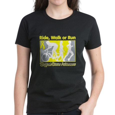 Bladder Cancer RideWalkRun Women's Dark T-Shirt